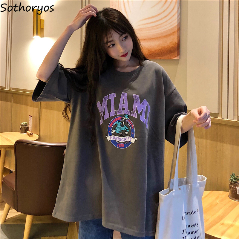 T-shirts Women Letter Printing Funny Tshirt O-Neck Simple All-match Cartoon Trendy Womens Tee Top Couple Clothes Unisex Loose