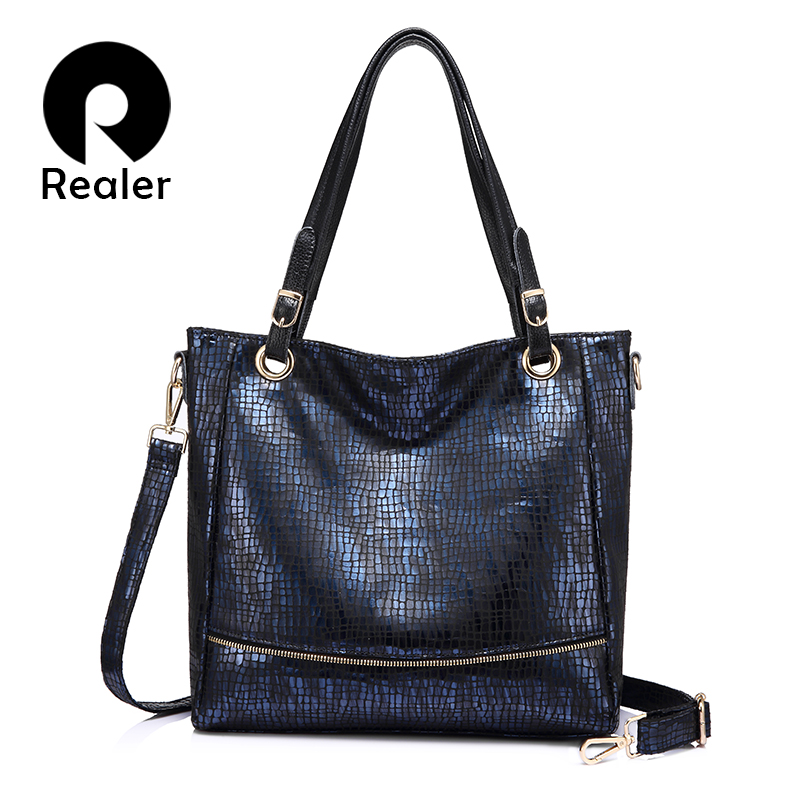 REALER Tote Bags For Women Fashion Zipper Leather Handbags Female Messenger Bag Animal Prints Artificial Leather Shoulder Bag