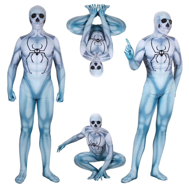 FOGIMOYA Adult Insomniac Games PS4 Ghost Spiderman Cosplay Costume Halloween Ball Full Bodysuit Bodysuit Zentai Suit