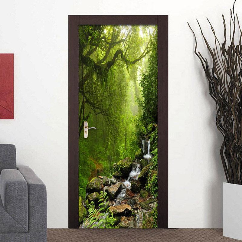 3D Wall Paper Creative Nature Landscape Door Mural Wallpaper PVC Self Adhesive Waterproof Vinyl Door Poster Wallpaper Sticker 3D