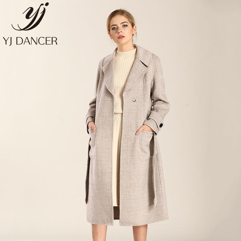 face Longue vent La De Creamy Plaid 2018 Coupe white gray Chaud À Main Double Manteau Css308 Automne Femmes En Laine Haut Cachemire Hiver Gamme Y7y6bgf