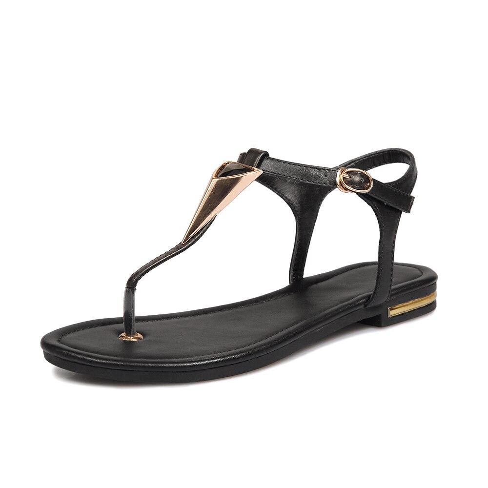 Dower Me Pu Leather Womens Sandals 2017 Summer Fashion Open Toe T Strap Beach Shoes Flip Flop Flats Black Sandals Size 34-40 sandals 2016 new famous brand buckle womens flip flop sandals summer beach sandals af327