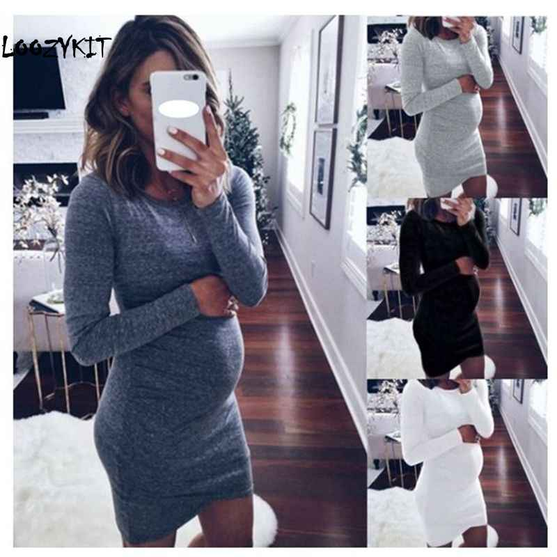 c57ea5fb7f049 Loozykit Pregnancy Spring Dresses Pregnant Women Long Sleeve Body-con  Casual Dress Autumn Mother Home