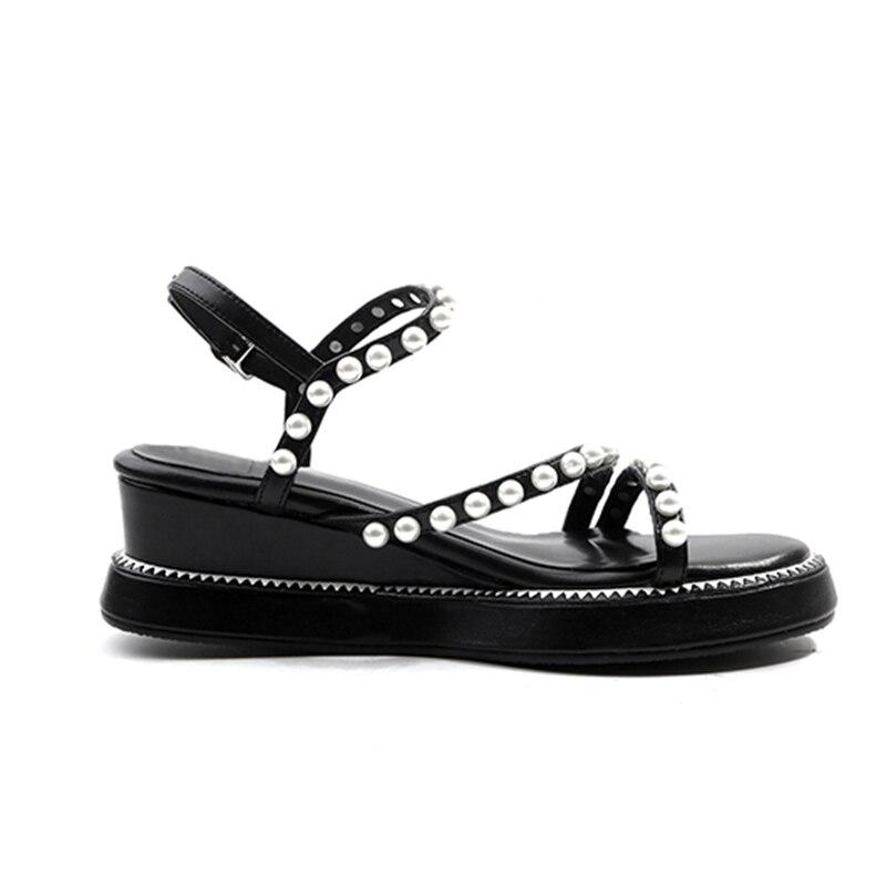 Mujer Abierta Cuero 40 Mujeres De Punta Las Sandalias Bolso 34 Zyl2677 Zapatos Enmayer Cuñas white Black Talla Genuino qw6pXPzx