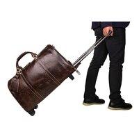 Genuine Leather Trolley Luggage Vintage Brown Boarding Package Business Travel Bags Men Handbags Women Tote Specials