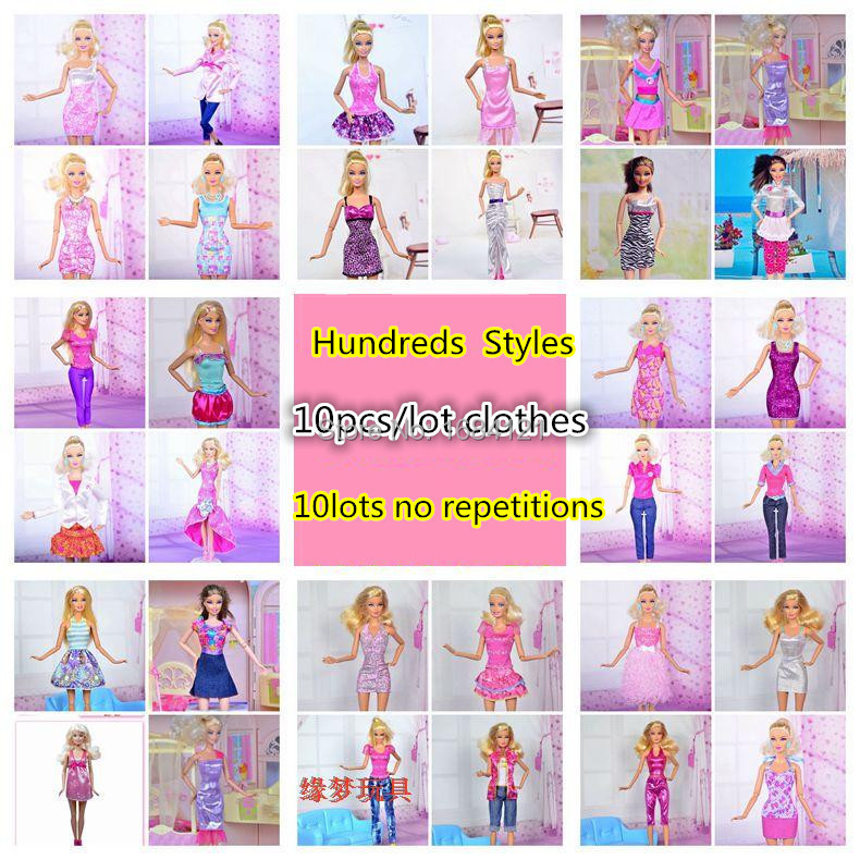 Free Shipping 2016 new 30 piece lot Fashion Beautiful clothes doll dress for barbie doll doll