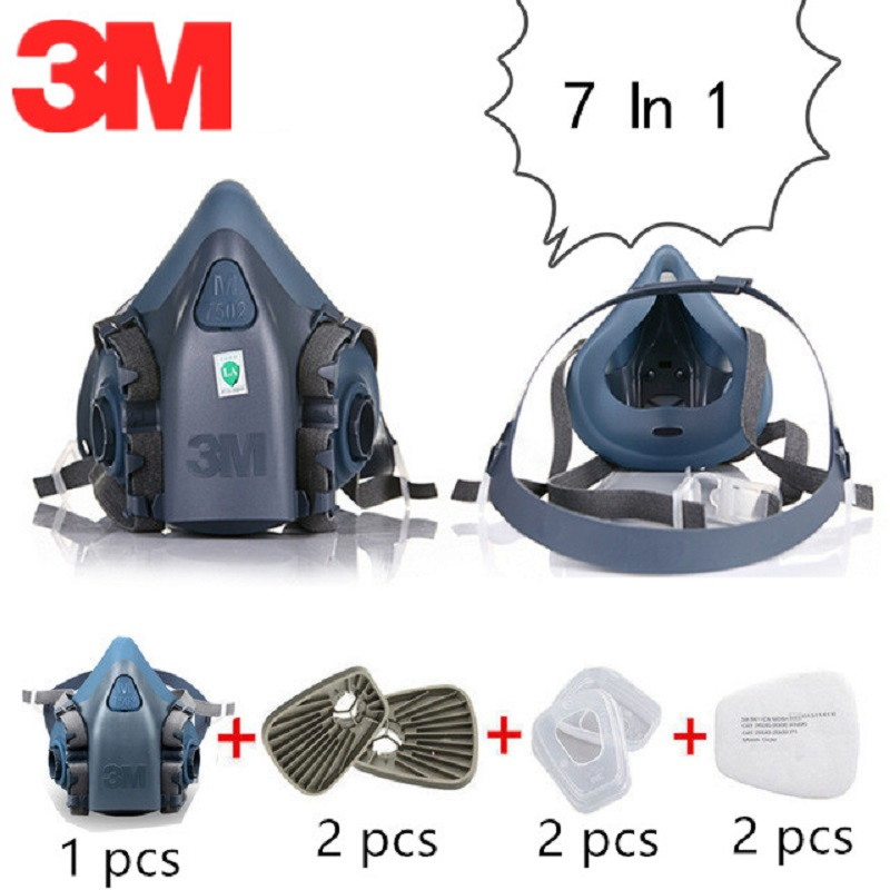7 In 1 3M 7502 Gas Mask Respirator Painting Industry Protective Filter Respirator Anti PM2.5 Pollution Dusty Environment
