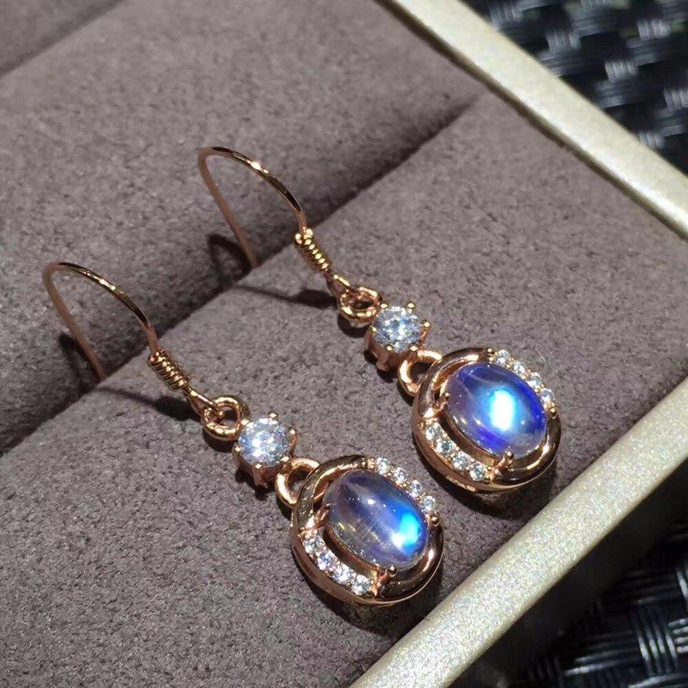 Boucles d'oreilles goutte bleu pierre de lune Uloveido pour femme, bijoux de mariage en argent Sterling 925, 5*7mm avec certificat de boîte en velours FR162-in Boucles d'oreilles from Bijoux et Accessoires    2
