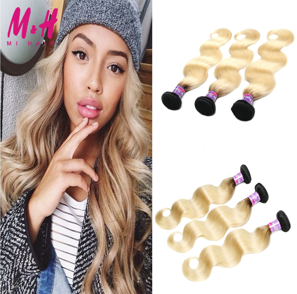 #613 Ombre Brazilian Hair Extensions Body Wave blonde virgin hair 100% Human Hair Weave blonde brazilian hair 613 blond on sale