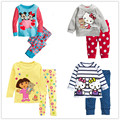 Мода девушки комплект одежды весна осень хлопка новорожденных девочек устанавливает детские пижамы костюм пижамы мультфильм печати футболку футболки + брюки