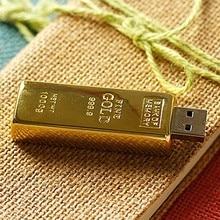 La capacidad Real de USB barra de oro 3,0 Flash lápiz de memoria USB disco clave 8GB 64GB 32GB USB Flash Drive de 1TB 2TB Pendrive 16GB 512 GB