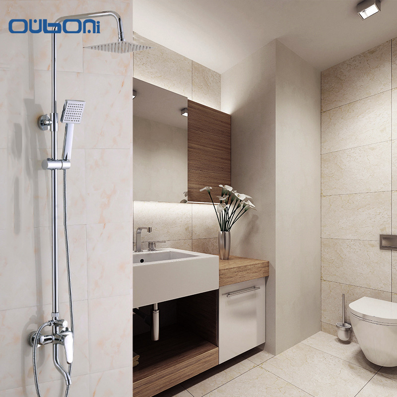OUBONI Concise Style Bathroom Rainfall Shower Head System Polished Chrome Bath & Shower Faucet Mixer Shower Set W/ Hand Spray  ouboni new arrival bathroom rainfall shower panel rain massage system faucet with jets hand shower bathroom faucet tap mixer