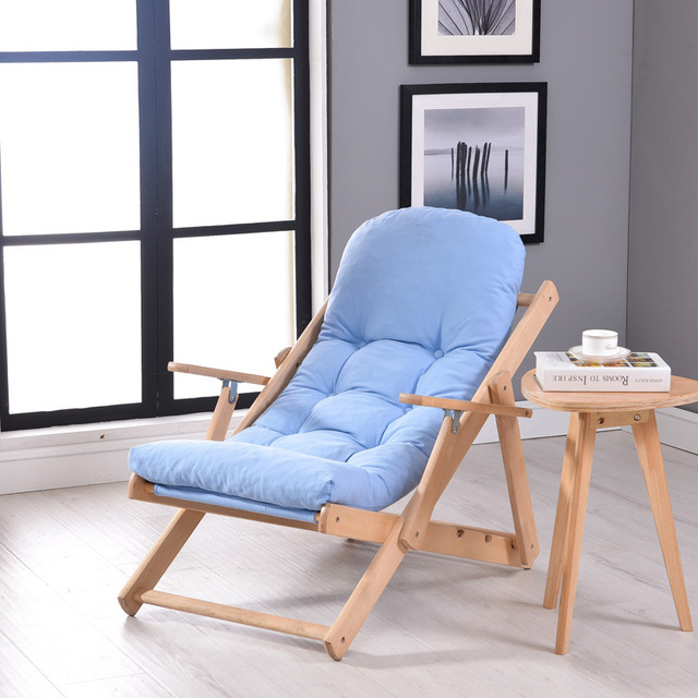 Soft and comfortable lazy chair wooden foldable reclining chair ...