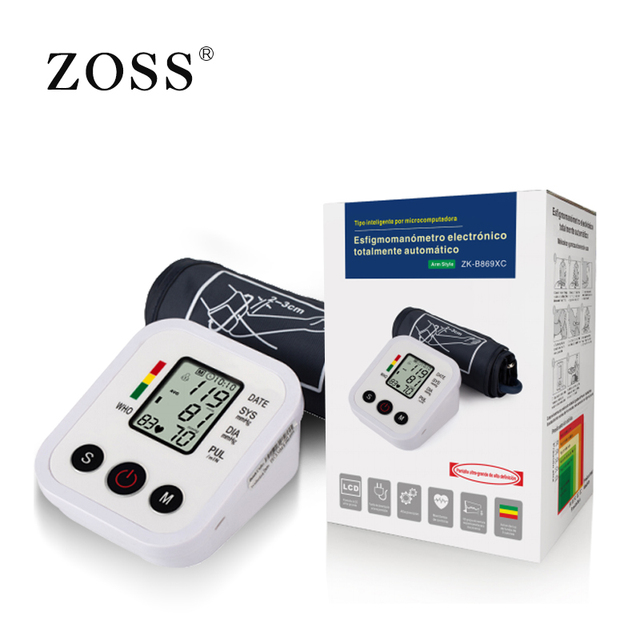ZOSS  English or Russian Voice broadcast digital LCD upper arm blood pressure monitor heart beat instrument tonometer heart rate 4