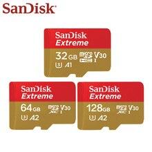 100% 오리지널 SanDisk U3 A1 클래스 10 32GB 마이크로 SD 카드 100 메가바이트/초 128GB 64GB A2 V30 메모리 카드 SDXC SDHC TF 카드 플래시 카드