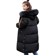 Vee Top Oversize Warm Thicken Jackets Hooded Cotton Padded Outwear Female Coat Long
