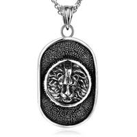 Lion Head Pendant Dog Tag Necklace For Men Power Necklace Stainless Steel Luxury Rock Hip Hop Men Jewelry Friendship Gift 23''