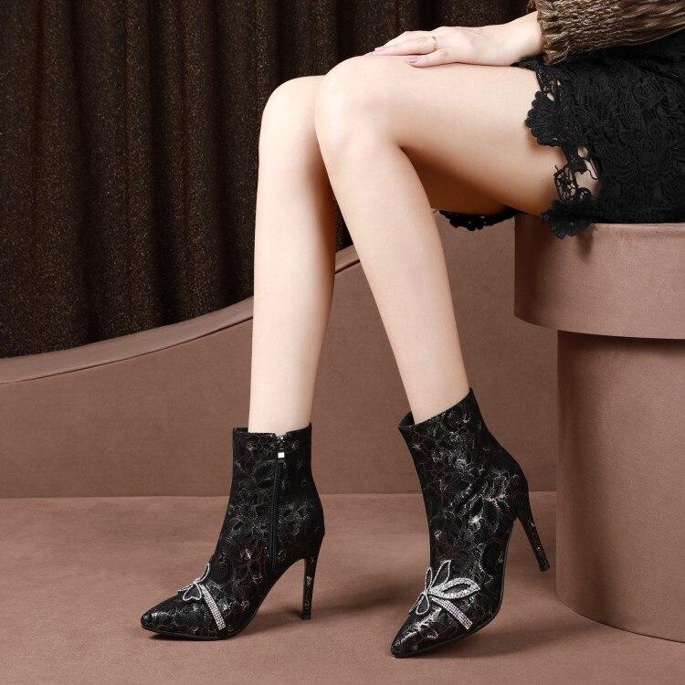 4bfba7dcc08d93 Bottes D'hiver Talons 43 Enfants Femelle Mode Cuir Chaussons 33 Pour Grande  Mince Chaussures ...
