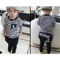2016 autumn winter baby boy clothes cotton long sleeve Striped t-shirt top+pant sport suit baby boy clothing set kids clothes