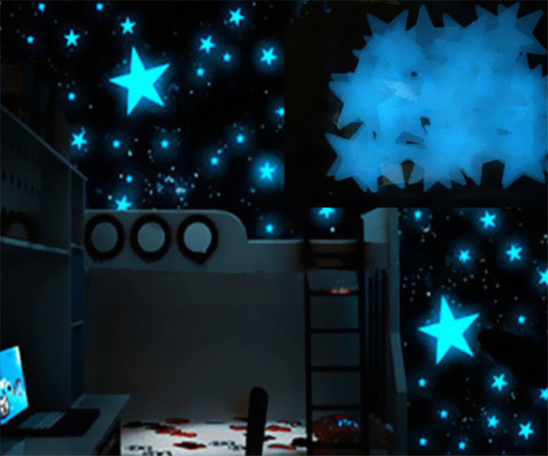 New Hot 100pcs/pack 3cm 3D Stars Glow In The Dark Luminous Fluorescent Plastic Wall Stickers Living Home Decor For Kids Rooms