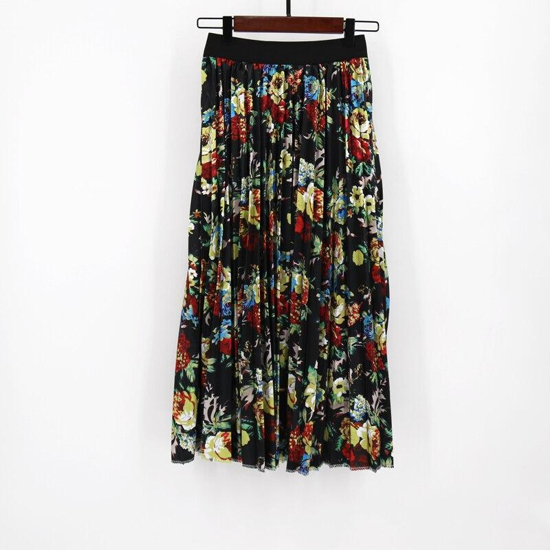 MNOGCC Pleated Skirt Summer Patterns Fashion Plant Image Character Skirt Waist Skirt Women Elastic Waist Long Skirts Female