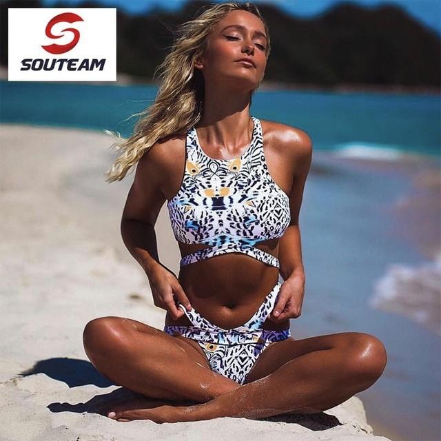 SOUTEAM Bland 2017 Classic Shell Bikinis Set Tankini Beachwear Monokini Swimwear Women Swimsuit Push Up Swim #SYB7221