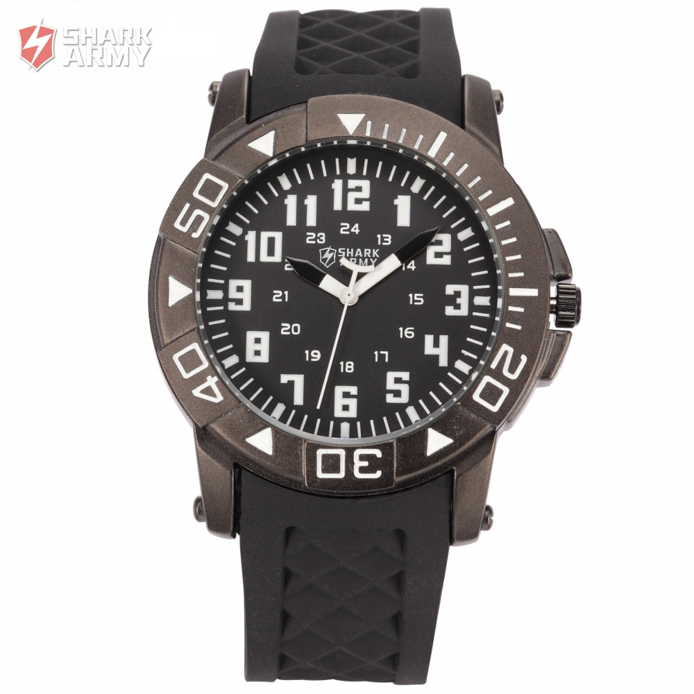 SHARK ARMY New Military Relogio Male Breitling Watch Black Silicone Strap Clock Men Fashion Sport Quartz Wrist Watch / SAW077 goblin shark sport watch 3d logo dual movement waterproof full black analog silicone strap fashion men casual wristwatch sh165