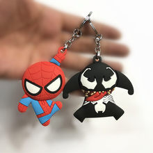 Soft Silicon Marvel The Avengers Figures Super Heroes Panther Spiderman Venom Figurine 2018 Car Keychain Ring toys Party Supply(China)