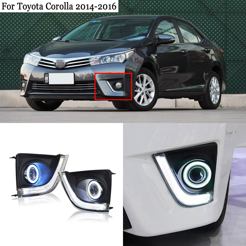 Ownsun COB Angel Eye Rings Projector Lens Halogen Lamp Source Black Fog Lights Bumper Cover For Toyota Corolla 2014 2016