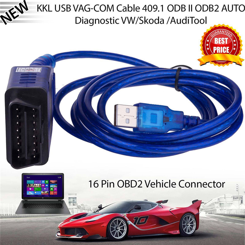 USB Interface Cable 2000 OBD2 II VAG-COM Diagnostic KKL Scanner XP 5M VCDS WINDOWS ME Cable Vag 409.1 and Interface Com NT 98