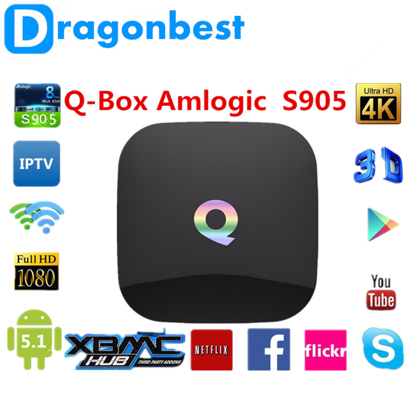 TV Box Qbox Amlogic S905 Quad Core OS Android 5.1 Dual Band Wifi 2.4G and 5G Preinstall 16.0 Support BT 4.0 [spain stock] tronsmart vega s89 amlogic s802 2 0ghz quad core android tv box 2g 16g dual band wifi 2 4g 5g bluetooth4 0 xbmc black
