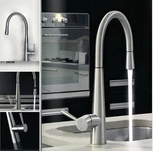 Contemporary Chrome or Brushed Solid Brass Deck Mounted pull out Hot and Cold kitchen faucet mixer