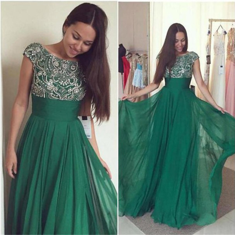 6366fcd759 Dresstells Emerald Green Prom Dresses A line O Neck Cap Sleeves Beaded Floor  Length Chiffon Evening Dress Party Gown-in Prom Dresses from Weddings    Events ...
