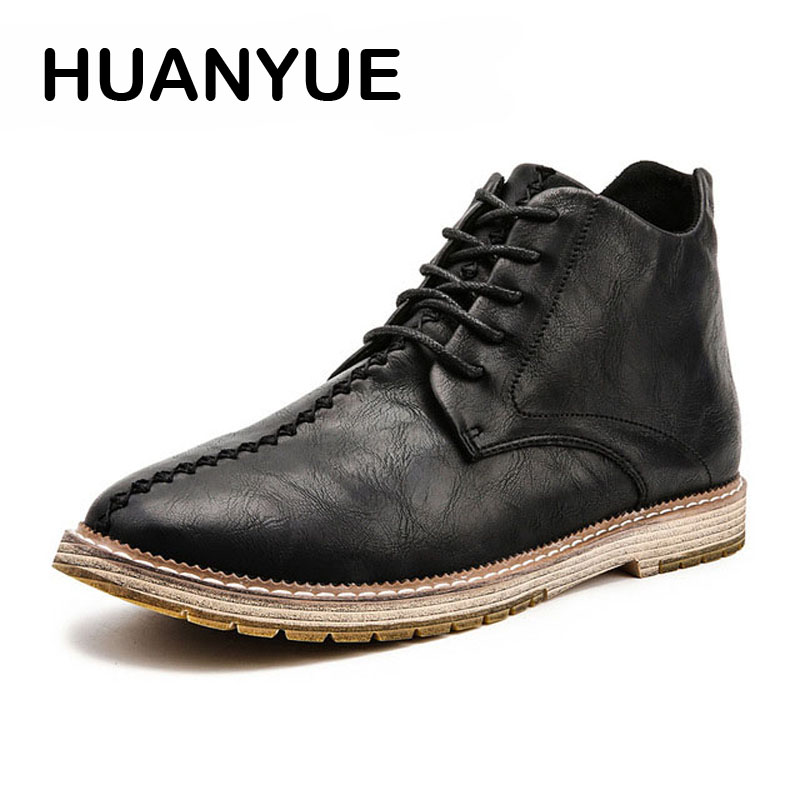 2018 Hot Winter Men Boots Breathable Formal Martin Boots Big Size 38-47 Ankle Boots Casual Lace Up High Top Men Shoes Leather hot 2018 lace up men s canvas shoes big size man buckle casual ankle boots winter fashion leather shoes mens flats