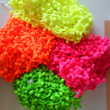 12mm Bright color Pompon Ball Trims Ribbon DIY Sewing Accessory Lace for curtains 2y/lot(China)