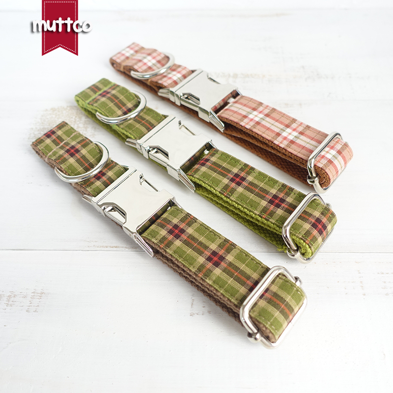 MUTTCO retailing environmental beefy collar THE TREE PLAID and THE GREEN PLAID and THE ORANGE PLAID fashion dog collars 5 sizes