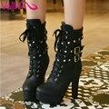 Vallkin 2016 sexy occidental botas de moto remaches zapatos otoño moda delgada plataforma de tacón alto damas botas de tobillo tamaño de arranque 34-43