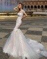Dreagel Glamorous Tulle Appliques Sirena Vestido de Novia 2017 Nuevo de la Llegada Del O-cuello Botón de Tren Capilla Vestido de Novia Robe de Mariage