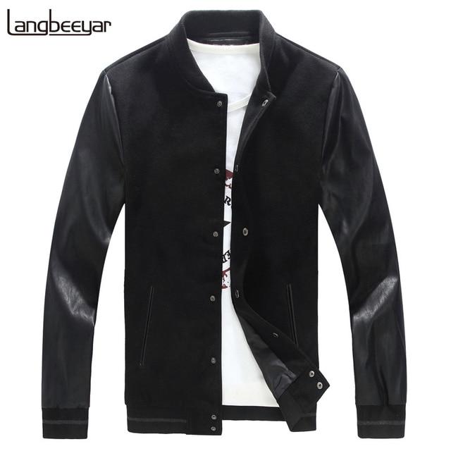 2018 nueva moda de otoño para hombre de la marca PU chaqueta Pachwork  coreano Slim Fit cffa843bda3