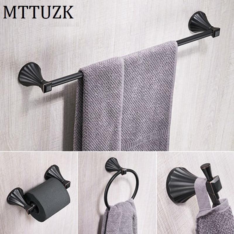 MTTUZK 4PC/Set Brushed Nickel Bath Hardware Set Oil Rubbed
