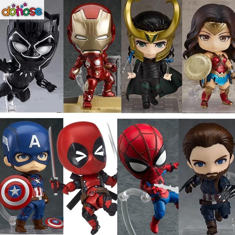 Nendoroid Avengers Infinity War Thor Captain America  Iron Man  Black Panther Wonder Woman Spiderman Action Figure