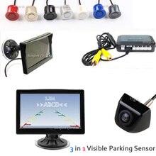 HD 5 Voiture LCD Moniteur Pour CCD Vue Arrière de Voiture Caméra de sauvegarde Inverse Parking Capteur Système Visuel D'alarme Affichage 4 Radars Aider