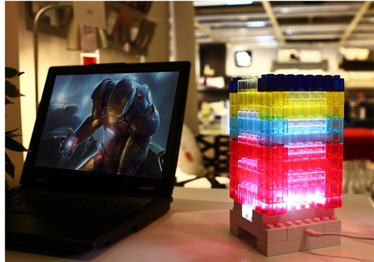 [Новинка] DIY 7 цветов светодиодный светильник радужные строительные блоки офисное здание модель сна лампа декоративная кирпичная лампа игру