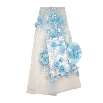 Latest African Laces 2018 3D Lace Fabric Wedding Nigerian African Tulle Lace Fabric With Beaded Lace Fabric H784-2