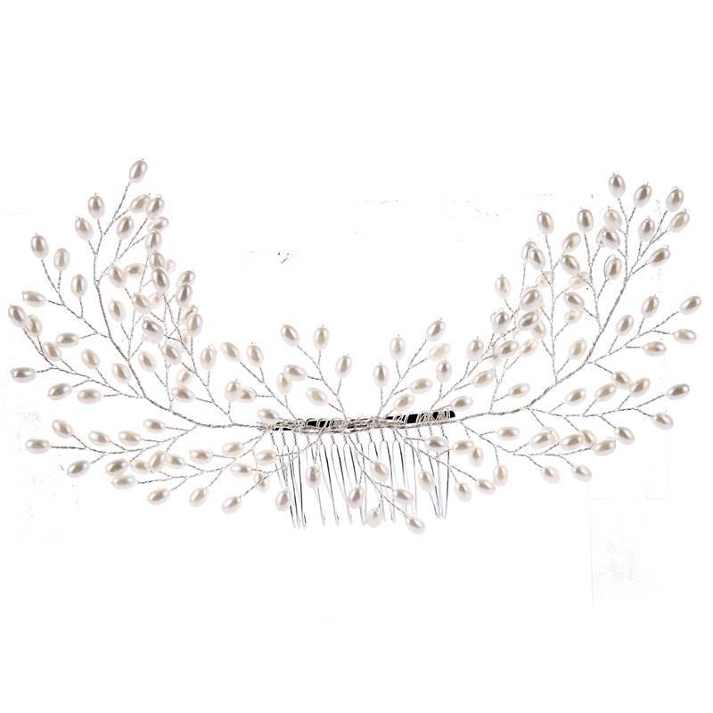 TUANMING Silver Pearl Bride Hair Combs And Clips Wedding Headdress Hair Accessories Part Princess Women Hair Jewelry Ornaments