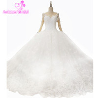 Luxury Lace White Wedding Dress Gown Nude 2017 New Puffy Ball Gown Heavy Dresses Big Skirt