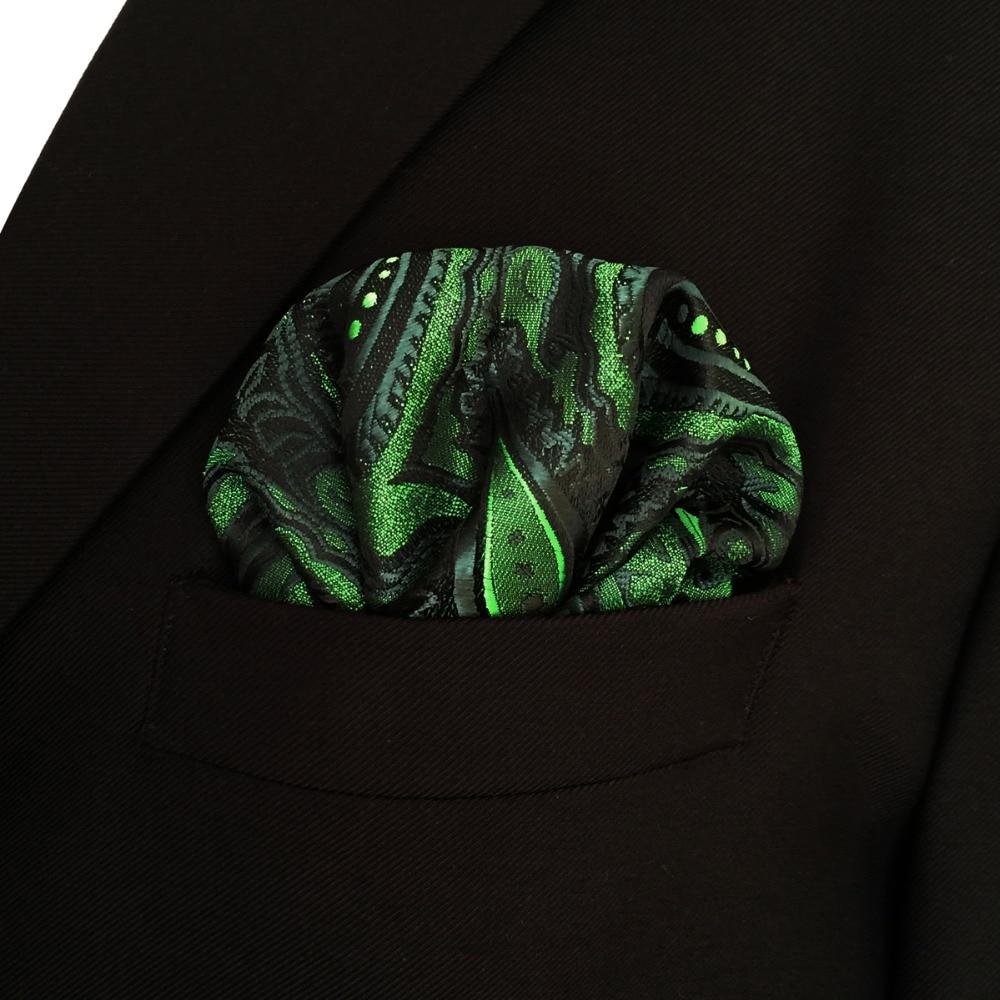 Paisley Green Batistă neagră Buzunar Mătase pătrată Mătase - Accesorii pentru haine - Fotografie 2