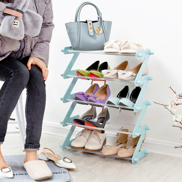 Plastic Multi-layer Multi-functional Assembly Home Simple Storage Rack Space Modern Cabinet Shoe Care Etagere