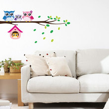 Cute Owls On the Tree Wall Stickers Animals Sticker for Children Room Decoration Baby