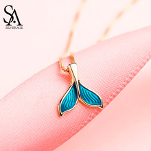 SA SILVERAGE Real 925 Sterling Silver Blue Color Mermaid Tail Pendant Necklaces Gold Plated Chain Link Necklace
